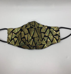 Triangle Sequins Mask - Gold