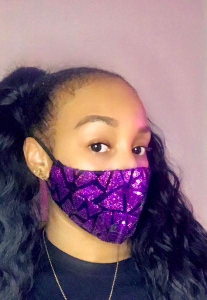 Triangle Sequins Mask - Purple - The Glam Goddess Shop