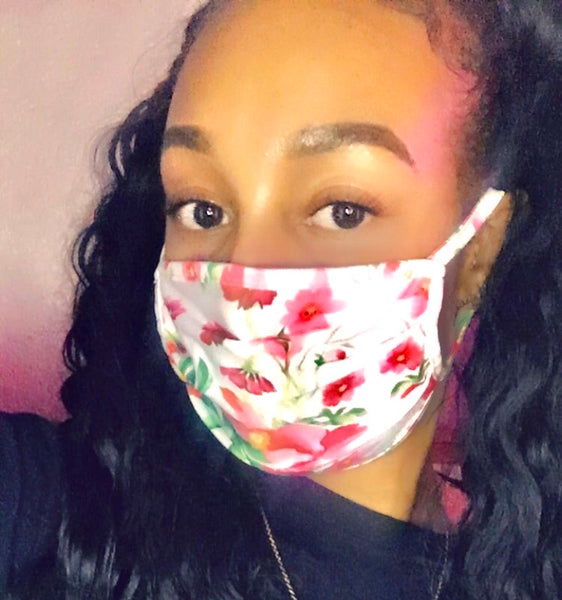 Pink Floral Mask - The Glam Goddess Shop