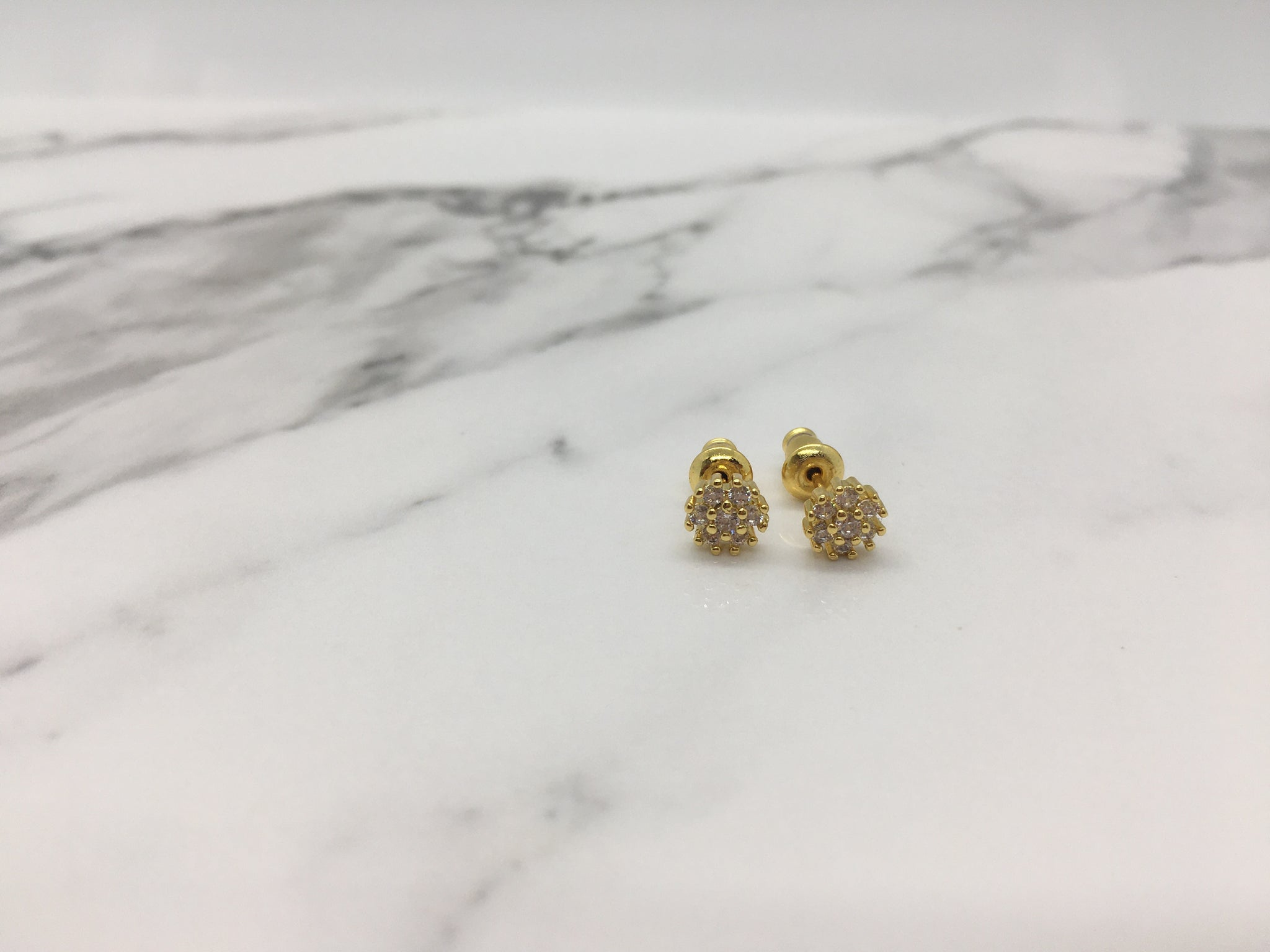 Flower Stud Earrings - Gold
