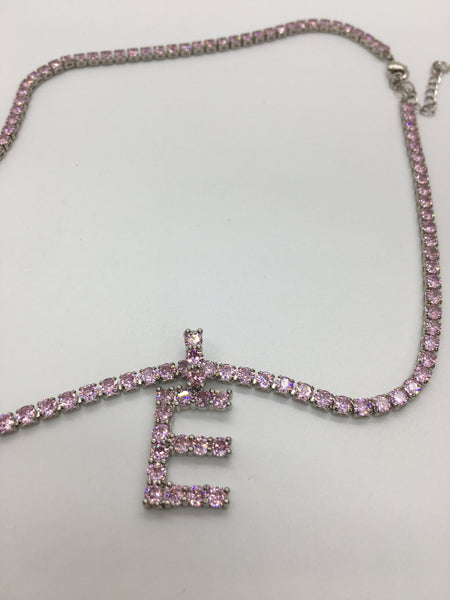 Initials Tennis Necklace - Baby Pink - The Glam Goddess Shop