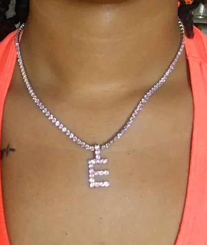Initials Tennis Necklace - Baby Pink