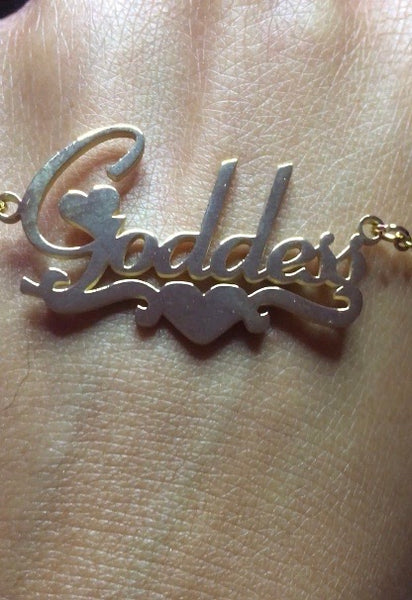 Heart Name Plate Necklace - The Glam Goddess Shop