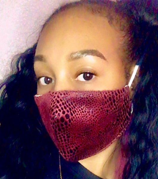 Snake Skin Mask - Burgundy - The Glam Goddess Shop