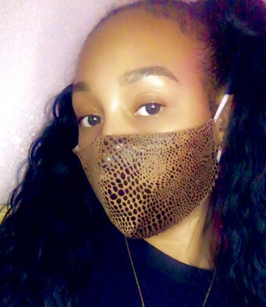 Snake Skin Mask - Brown - The Glam Goddess Shop