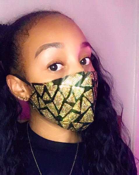 Triangle Sequins Mask - Gold - The Glam Goddess Shop
