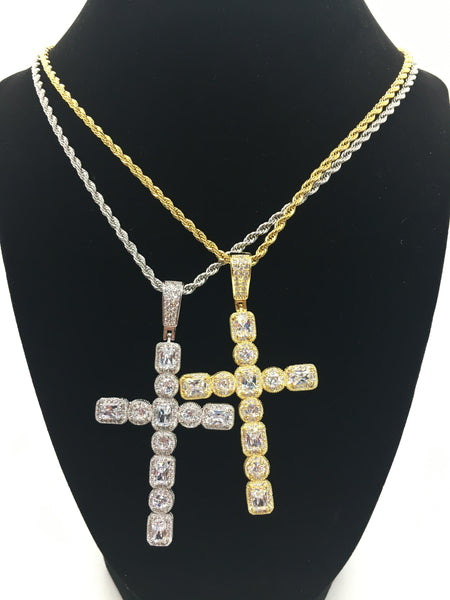 Drippin Cross Necklace - Silver