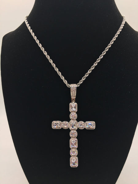 Drippin Cross Necklace - Silver - The Glam Goddess Shop