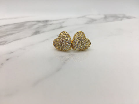 Heart Stud Earrings - Gold
