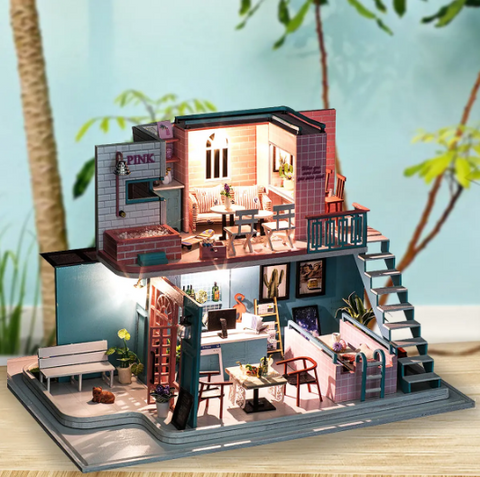 """alt=""""PinKoffee™ Miniature Wooden DIY Doll House Handmade With Furniture And Lights"""""""