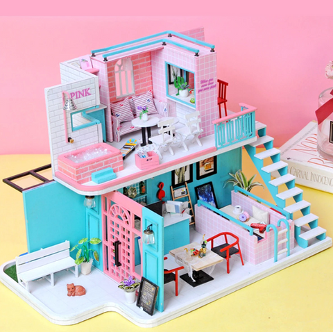 """alt=""""Day Time View of PinKoffee™ Miniature Wooden DIY Doll House Handmade With Furniture And Lights"""""""