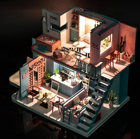 """alt=""""Lit up View of PinKoffee™ Miniature Wooden DIY Doll House Handmade With Furniture And Lights"""""""