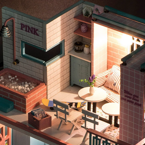 """alt=""""Close up View of the First Floor in PinKoffee™ Miniature Wooden DIY Doll House Handmade With Furniture And Lights"""""""