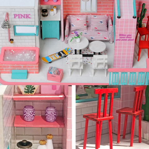 """alt=""""Furniture and Props in PinKoffee™ Miniature Wooden DIY Doll House Handmade With Furniture And Lights"""""""