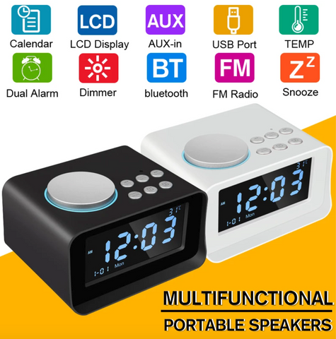 """alt=""""LCD Display Clock and Features List on TimeZZ™ New LCD Alarm Clock with Bluetooth Stereo Speaker FM Radio USB Charging Temperature Display AUX/TF Card Support"""""""