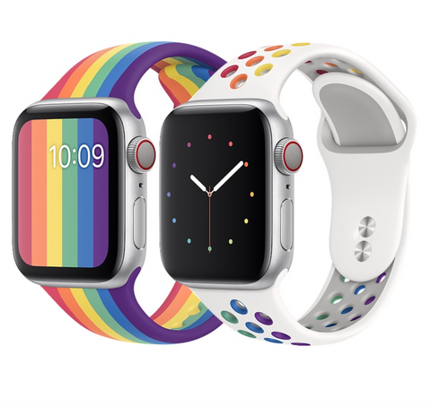 """alt=""""Silicone Rainbow & White Variants of ProudRainbow Pride Accessories LGBT Rainbow Apple Watch Band Strap"""""""