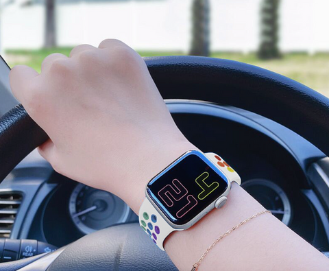 """alt=""""The White ProudRainbow Pride Accessories LGBT Rainbow Apple Watch Band Strap"""""""