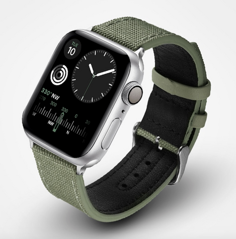 """alt=""""Seamless Look with Dial Feature in Rugged-T™ Canvas & Leather Band Strap for Apple Watch"""""""