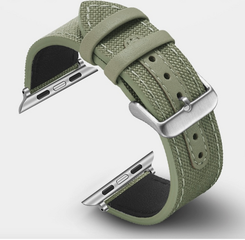 """alt=""""Premium Quality Material used in Rugged-T™ Canvas & Leather Nato Band Strap for Apple Watch"""""""