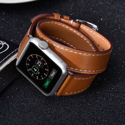 """alt="""" Premium PU Leather from Stanvés™ Leather Double Loop Band Strap for Apple Watch"""""""
