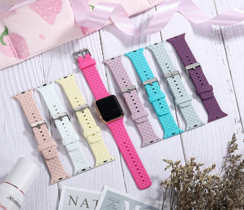 """alt=""""Pastel Shades in PastelO New Silicone Sport Band Strap for Apple Watch"""""""