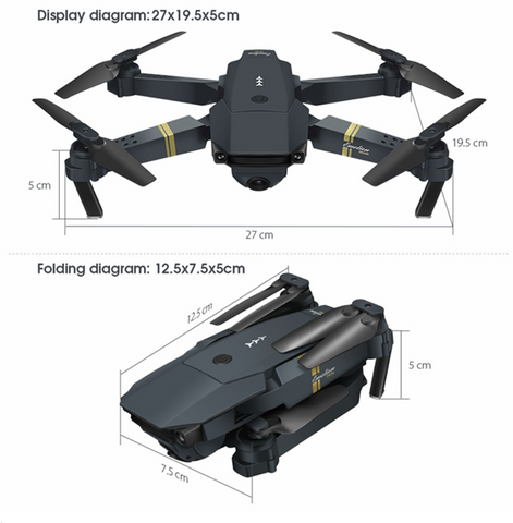 """alt=""""Size specifications of Skychine™ Mini Pocket RC Drone Quadcopter with Camera WiFi"""""""