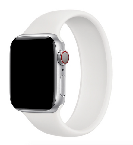 """alt=""""White UnoLoop Solo Loop Silicone Elastic Band Strap for Apple Watch Series SE 6 5 4 3 2 1"""""""