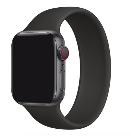 """alt=""""Black UnoLoop Solo Loop Silicone Elastic Band Strap for Apple Watch Series SE 6 5 4 3 2 1"""""""
