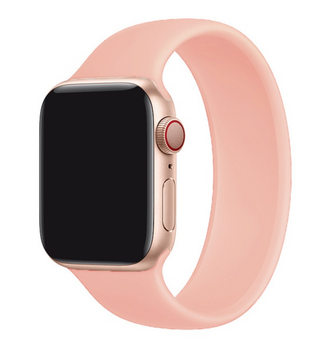 """alt=""""Peach Pink UnoLoop Solo Loop Silicone Elastic Band Strap for Apple Watch Series SE 6 5 4 3 2 1"""""""