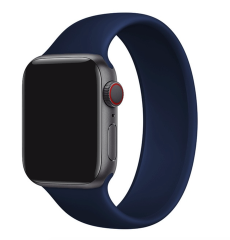 """alt=""""Midnight Blue/Navy UnoLoop Solo Loop Silicone Elastic Band Strap for Apple Watch Series SE 6 5 4 3 2 1"""""""