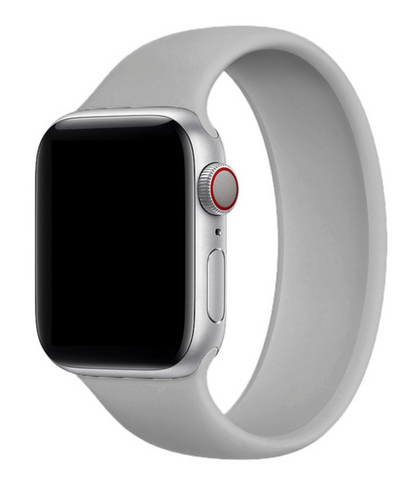 """alt=""""Gray UnoLoop Solo Loop Silicone Elastic Band Strap for Apple Watch Series SE 6 5 4 3 2 1"""""""