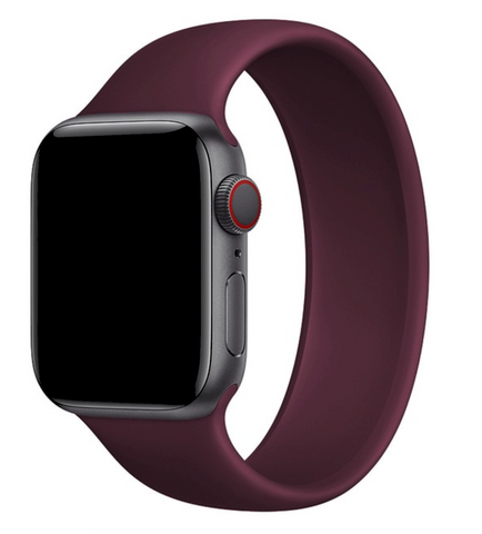 """alt=""""Wine Red UnoLoop Solo Loop Silicone Elastic Band Strap for Apple Watch Series SE 6 5 4 3 2 1"""""""