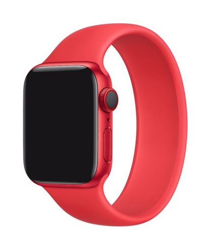 """alt=""""Red UnoLoop Solo Loop Silicone Elastic Band Strap for Apple Watch Series SE 6 5 4 3 2 1"""""""
