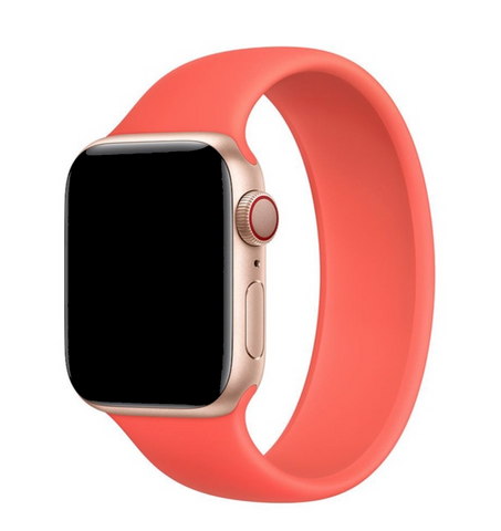 """alt=""""Citrus Pink UnoLoop Solo Loop Silicone Elastic Band Strap for Apple Watch Series SE 6 5 4 3 2 1"""""""