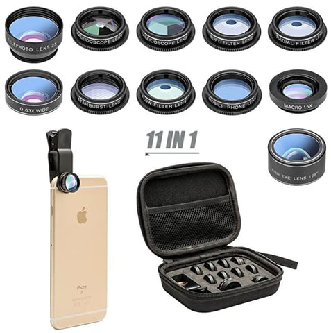 """alt=""""Optilenz 11 in 1 Macro Fisheye Wide Angle Zoom Telephoto Lens with Clip for iPhone Samsung"""""""