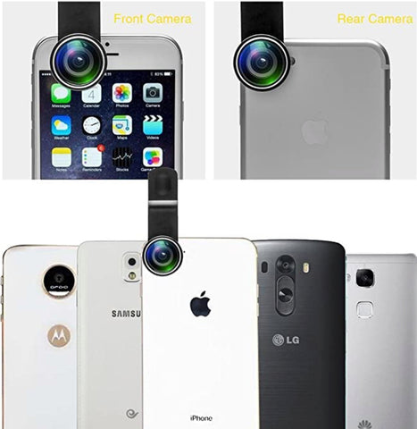 """alt=""""Front & Rear Camera View with Optilenz 11 in 1 Macro Fisheye Wide Angle Zoom Telephoto Lens with Clip for iPhone Samsung"""""""