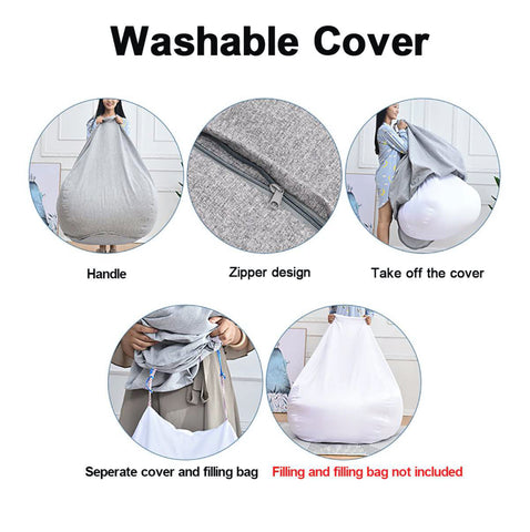 """alt=""""Washable cover of GigaBean Linen Fabric Bean Bag Chair for Adults & Kids"""""""