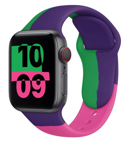 """alt=""""Pink & Purple The UnD Unity Accessories Silicone Watch Band for Apple Series 6 SE 5 4 3 2 1"""""""