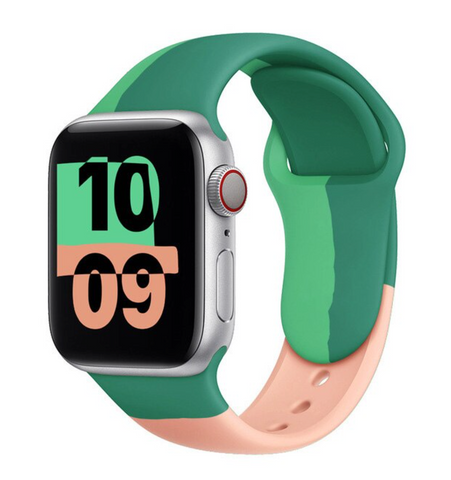 """alt=""""Peach & Green The UnD Unity Accessories Silicone Watch Band for Apple Series 6 SE 5 4 3 2 1"""""""