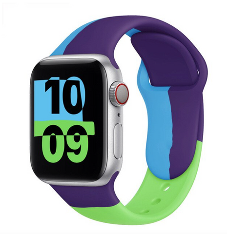 """alt=""""Blue & Green The UnD Unity Accessories Silicone Watch Band for Apple Series 6 SE 5 4 3 2 1""""  Edit alt text"""