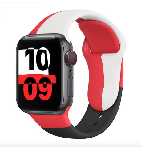 """alt=""""Red & White The UnD Unity Accessories Silicone Watch Band for Apple Series 6 SE 5 4 3 2 1"""""""