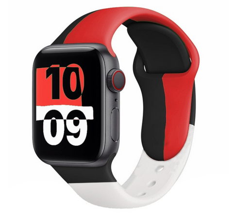 """alt=""""Red & Black The UnD Unity Accessories Silicone Watch Band for Apple Series 6 SE 5 4 3 2 1"""""""