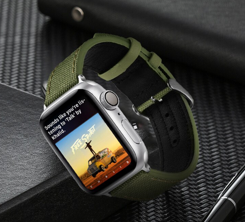"""alt=""""Army Green Rugged-T™ Leather & Canvas Band Strap for Apple Watch"""""""