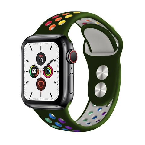 """alt=""""The Army Green ProudRainbow™ Pride Accessories LGBT Rainbow Apple Watch Band Strap"""""""
