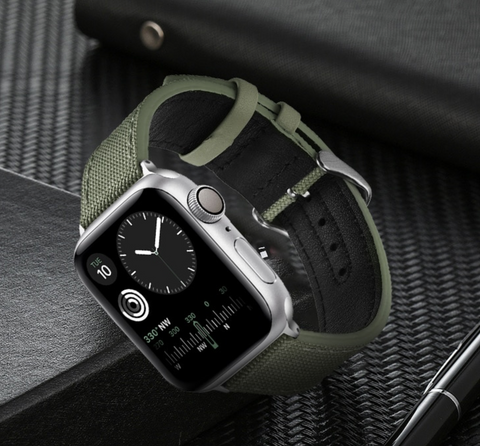 """alt=""""Ash Green Rugged-T™ Leather & Canvas Band Strap for Apple Watch"""""""