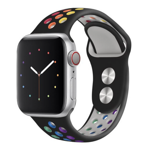 """alt=""""The Black variant of ProudRainbow Pride Accessories LGBT Rainbow Apple Watch Band Strap"""""""