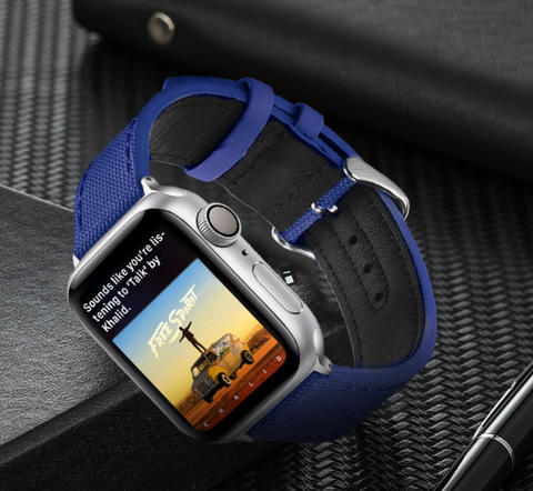 """alt=""""The Blue Rugged-T™ Leather & Canvas Band Strap for Apple Watch"""""""