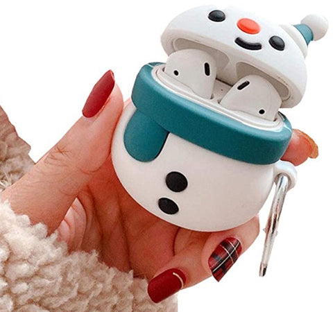 """alt=""""Blue Scarf Snowman Xmasy Silicone Case Cover for AirPods 1 2"""""""