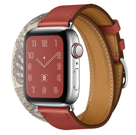 """alt=""""The Brick Red Stanvés™ Leather Double Tour Band Strap with Prints for Apple Watch"""""""