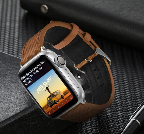 """alt=""""The Brown Rugged-T™ Leather & Canvas Band Strap for Apple Watch"""""""